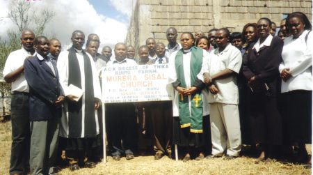 Parish Leaders after the service in front of the new church building 2007