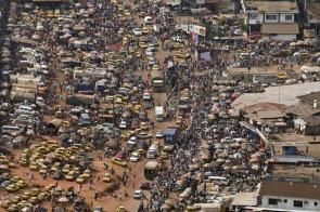 A view of a part of the capital city from a helicopter of the United Nations Mission in Liberia.