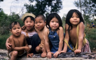 Ache children in permanent settlement of Arroyo Bandera. Mbaracayu Forest Reserve, Paraguay